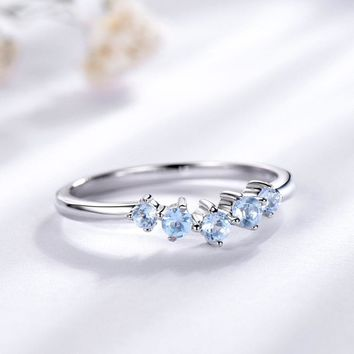 Genuine Natural Sky Blue Topaz Ring For Women 925 Sterling Silver Engagement Wedding Stacking Ring Fine Jewelry New Gift