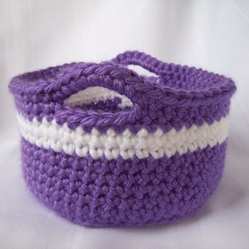 Crochet Basket, Purple Crochet Basket, Easter Basket, Storage Basket, Purple and White, Handmade Basket