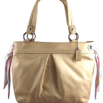 Coach Kyra Soft Large Leather Tote Removable Scarves light Tan