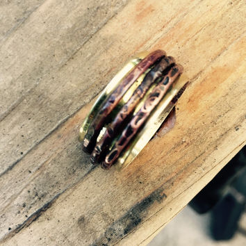 Wide Spinner Ring, Hammered Worry Ring, Wedding Ring
