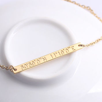 Engraved Bar Necklace- Personalized Coordinates Horizontal Bar Necklace - Location GPS Latitude Longitude Jewelry