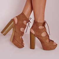 Missguided - Lace Up 70's Platform Sandals Tan