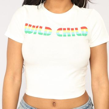 Wild Card Crop Top - White
