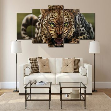 Leopard animal 5 pcs panel room decor print wall art picture canvas wall decor