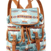 Blue Tribal Print Canvas Mini Backpack by Charlotte Russe