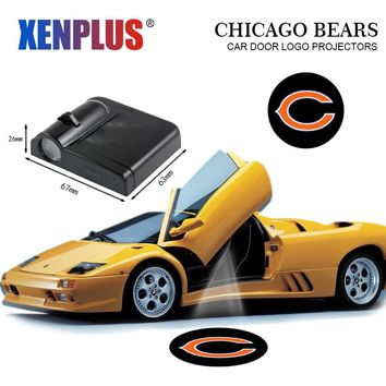 Car Door Welcome Lights for Chicago Bears NFL Projector Logo Led Wireless Car-styling Decorative Lamp For any car