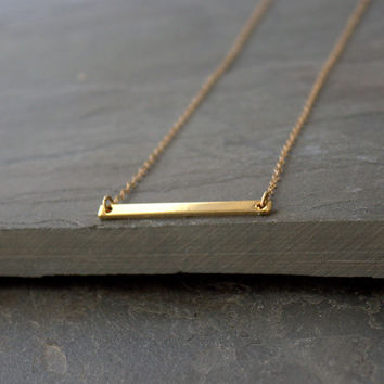 Gold Bar Necklace 14k Gold Fill Chain, Horizontal Bar Necklace, Gold Layering Necklace Chain, Skinny Gold Bar Necklace, Gold Layer Necklace