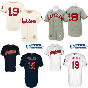 2016 World Series Patch Throwback Bob Feller Authentic Jersey , Men's #19 Mitchell And Ness Cleveland Indians