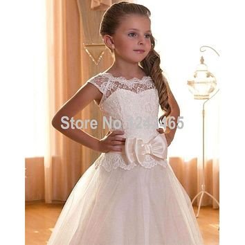 New Style Ivory Lace Flower Girl Dress 2016 For Party Floor Length Lace Up Back First Communion Dresses For Girls With Bow PF5
