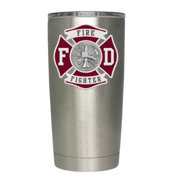Red Fire Department Badge on Stainless 20 oz Tumbler