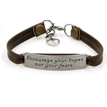 AUGUAU Yiyang Leather Bracelet Engraved Inspirational Message Encourage Jewellery Gifts