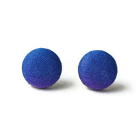 Blue Fading to Purple Very Subtle Color Change Fabric Covered Button Earrings