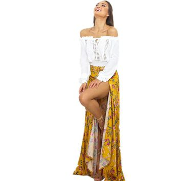 2017 Hirigin New Fashion Women Skirts Summer Long Maxi BOHO Floral Regular Skirts Evening Party Beach Bohemian Style Skirts