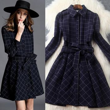 Retro checkered fashion lapel dress