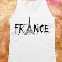 Eiffel Tower Shirt  France Shirts Paris Shirts Art Shirts White Shirts Unisex Shirts Vest Women Tank Top Shirts Women Top Sleeveless Singlet