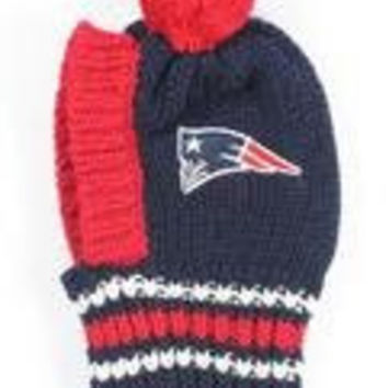 NFL Licensed New England Patriots Knit Pet Pom Beanie Hat (Medium 20lbs to 45-50 lbs)