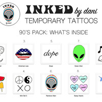 INKED by dani Temporary Tattoos: 90s Pack