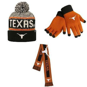 Licensed Texas Longhorns Big Logo Scarf Acid Rain Beanie Hat And Glove Solid Knit 38533 KO_19_1