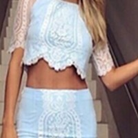 White Lace Two Piece Scalloped Crop Top Bodycon Mini Skirt Dress