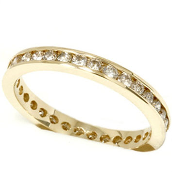 1.00Ct Diamond Yellow Gold Eternity Ring Womens Wedding Band Anniversary Stackable Size 4-9
