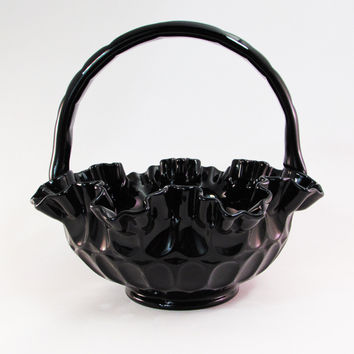 Black Fenton Glass Basket Thumbprint