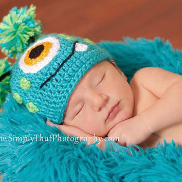 Crochet Baby Hat Little Monster made to order 6 to 12 months Photo Prop