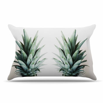 "Chelsea Victoria ""Two Pineapples"" Green Gold Pillow Sham"