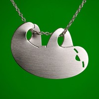 Silver Hanging Sloth Necklace