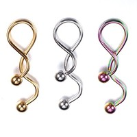 BodyJ4You Belly Ring Spiral Twister Navel Rainbow Goldtone Steel Piercing Jewelry