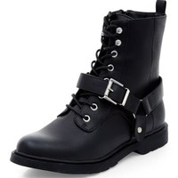 Black Chunky Buckle Strap Lace Up Boots