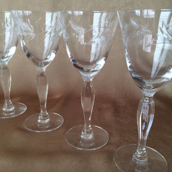 Etched Wine Glasses, Crystal Glassware, Sherry or Cordial, Fern Leaf Design, Glamour Glass, Quality Crystal Mid Century Glass Liquor Glass