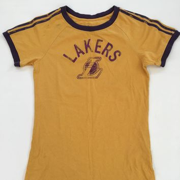 Adidas Vintage Style Yellow Los Angeles Lakers T-Shirt M