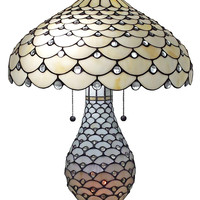 Tiffany Style Jeweled Double Lit Table Lamp 3 Light 18-Inch Wide. White