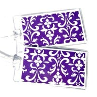 Purple luggage id tag, purple and white damask luggage tag, set of 2 in clear cases