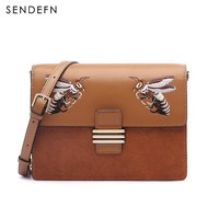 Sendefn 2018 New Dragonfly Embroidery Women Leather Handbags Small Quality Women Bag Cover Split Leather Handbag Phone Pocket