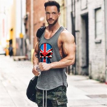 fitness men skull stringer tank top gyms bodybuilding clothes workout singlets Weight lifting Sportswear undershirt