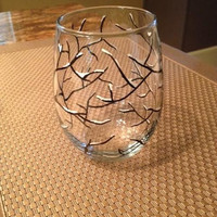 Snowy Winter Branch stemless wine glass tumblers