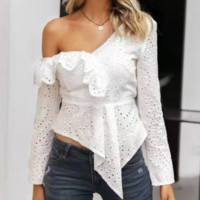 Autumn and winter new ruffled decorative shirt Slim Fashion irregular short jacket high street style