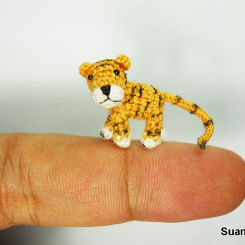 Micro Yellow Tiger  Mini Tiny Crochet Dollhouse Miniature by SuAmi