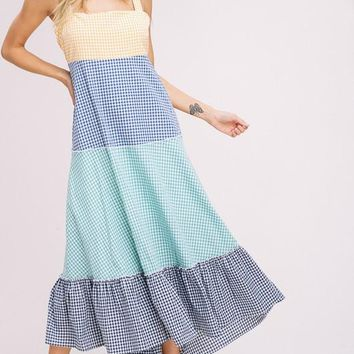 Color Block Gingham Dress