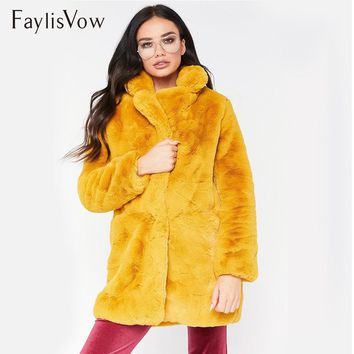 66f65967325f6 Winter Thick Warm Faux Fur Coat Plus Size Women Casual Solid Lon