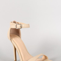 Wild Diva Lounge Leatherette Ankle Strap Open Toe Heel Color: Natural, Size: 8.5