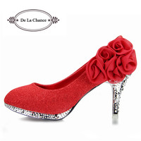 2016 Brand Women Wedding Shoes Red Bottoms Platform Wedge High Heels Sexy Woman Pumps Ladies Pointed Toe Bridal Shoes GG1018
