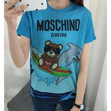 """""""Moschino""""Hot Letters Print T-shirt Top"""
