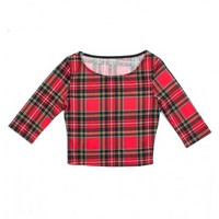 ROCK ON PLAID CROP TOP 3\/4 SLEEVES INSANE JUNGLE