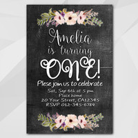 1st Birthday invitation, Watercolor Chalkboard Invitation, 1st 2nd 13th 18th 21st 30th 40th 50th, Custom invitation XA022c