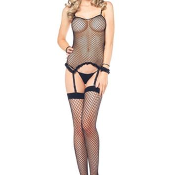 3Pc. Industry Net Cami Garter, G-String And Stocking in BLACK