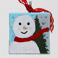 Small Canvas Ornament with Bald Snowman Wearing a Red Scarf, Original Mixed Media Artwork, Holiday Decoration, Christmas Tree Ornament