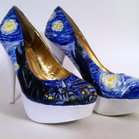 Hand Painted Pumps - Van Gogh 'Starry Night' High Heels