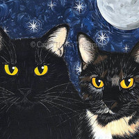 Black Cat Art Tortoiseshell Cat Painting Moon Stars Gothic Cats Portrait Fantasy Cat Art Print Pet Portrait 8x10 Cat Lovers Art